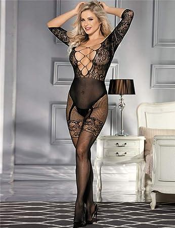 Lau-Fashion® Damen Netz Catsuit Nylon Transparent Dessous Strapse S//M//L