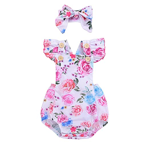 cafc2007d952 Amazon.com  KIDSA 0-24M Baby Girl Summer Clothes One-Piece Floral ...