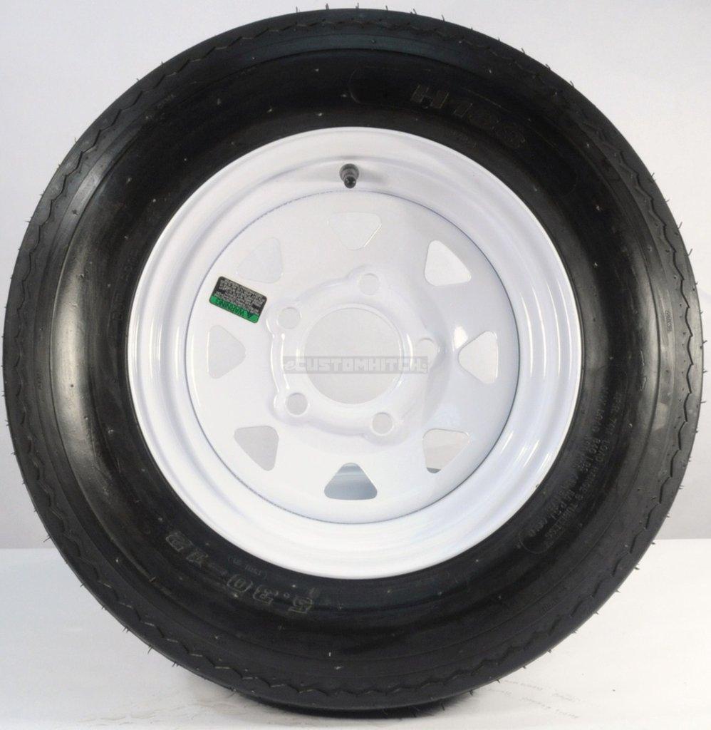 eCustomRim Trailer Tire + Rim 5.30-12 530-12 5.30 X 12 12'' 5 Lug Hole White Wheel Spoke