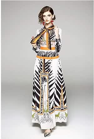 Y&D maxi length shirt neck animal print pattern full sleeve straight dress for women multi color XL