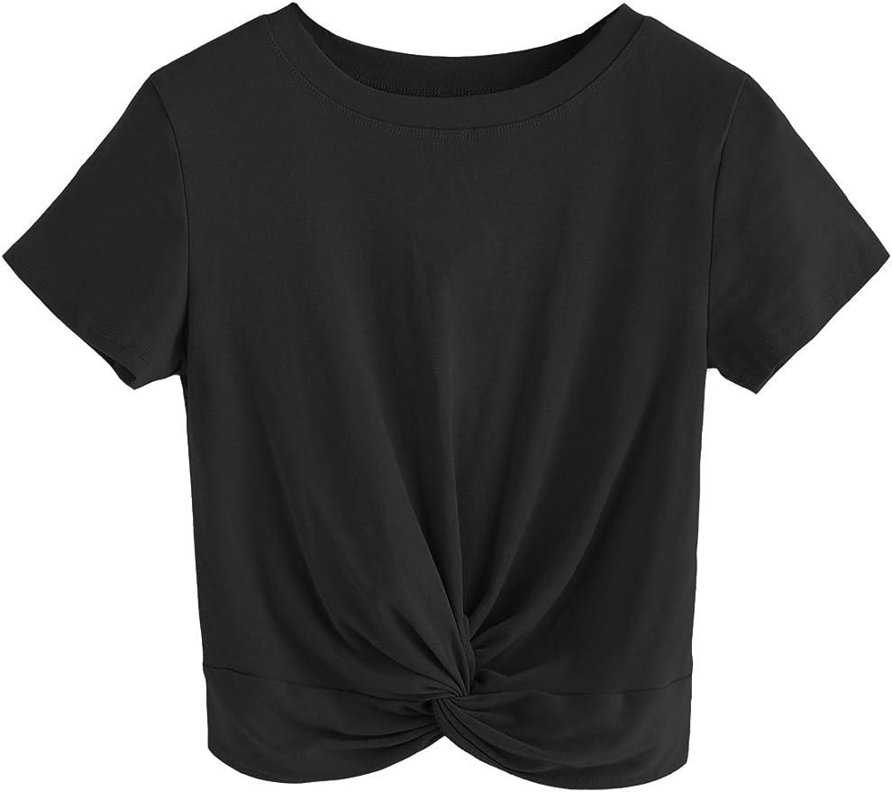 MakeMeChic Women's Summer Crop Top Solid Short Sleeve Twist Front Tee T-Shirt   Amazon