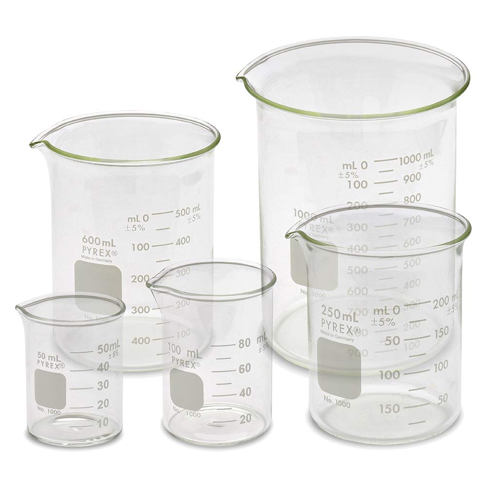 Corning PYREX #1000-Series Glass Beaker Sets, Low Form Griffin, Double Scale (Variations Available) Karter Scientific