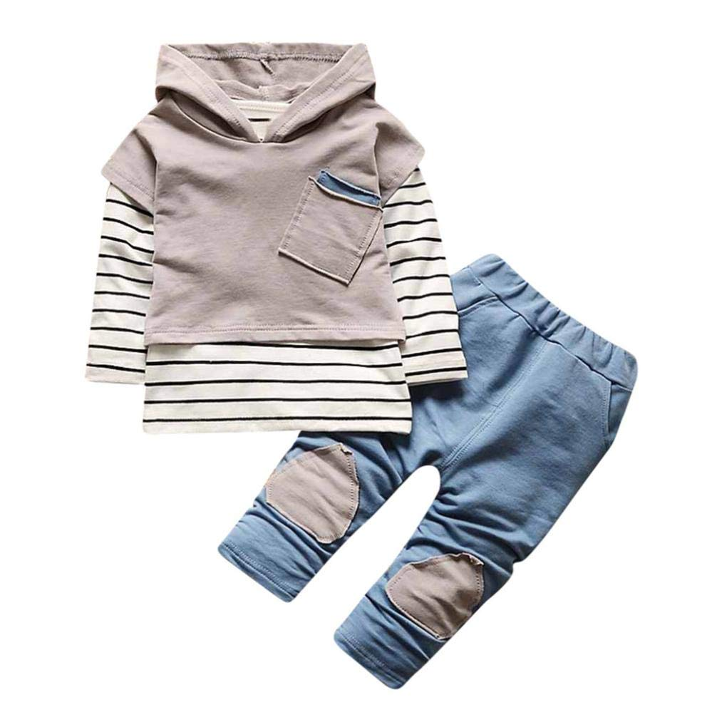 Pocciol Clearance/Toddler Kids Baby Boy Girls Outfits Hooded Stripe T-Shirt Tops+Pants Clothes Set 0-36 Months (Gray, 24-36 Months)