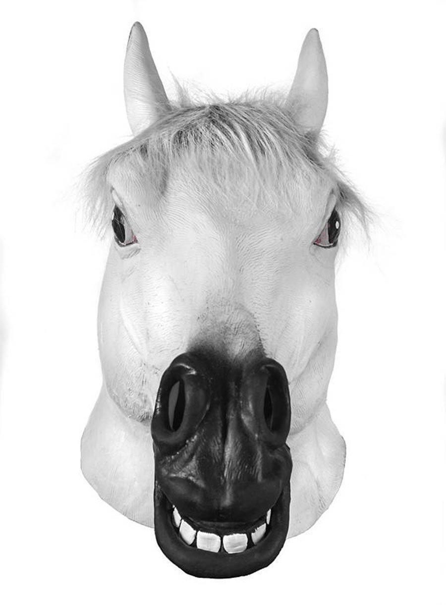 Adan Latex Horse Head Mask white Horse Mask