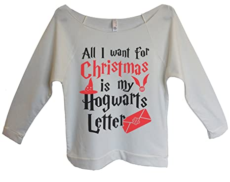 womens christmas 34 sleeve all i want for christmas is my hogwarts letter