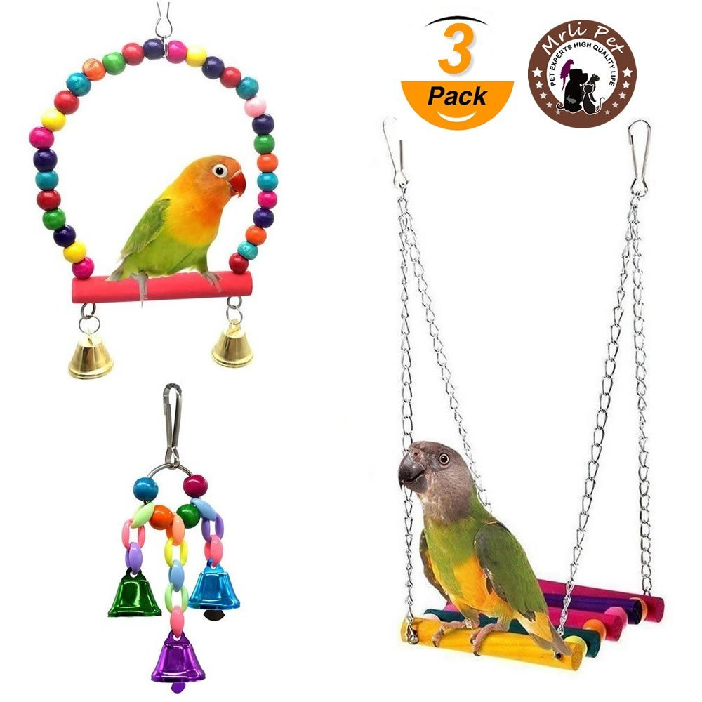 Mrli Pet Parrot Toy Bird Swing Toys Hanging Bells and Wooden Hammock Ladder for Budgie Love birds Cockatiels Conures Finches Small Parakeet Cages Toys (3 Pack)