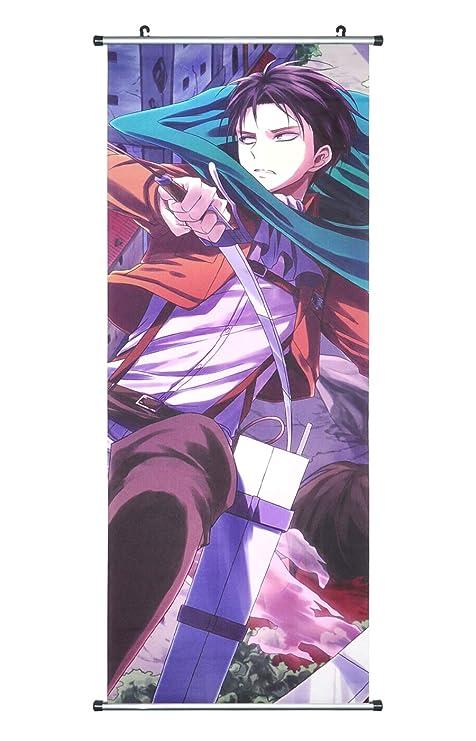 CoolChange Poster/Kakemono (Enrollable) de la Serie Ataque a los Titanes en Tejido, 100x40cm, Tema: Levi Ackerman