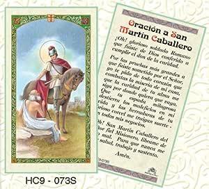 Oracion a san Martin Caballero Santa tarjeta en español