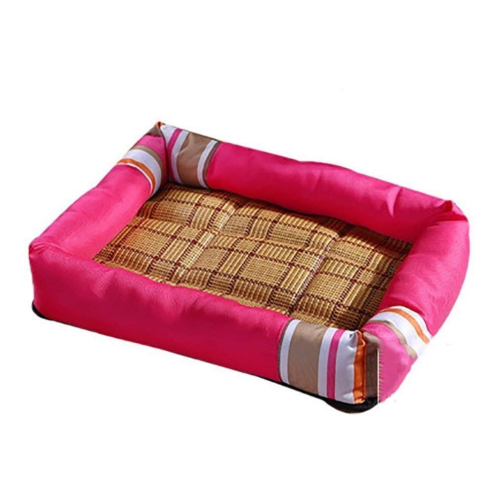 JINGB Pet Supplies Cool Mattress Kennel Pet Bed Cat Litter Dog Supplies (color   Rosy, Size   M) Pet Bed Blanket