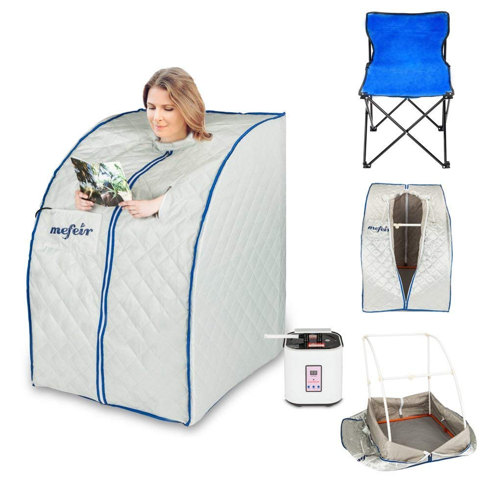 Mefeir Portable Sauna Home SPA, Full Body Slimming Loss Weight, Healthy Detox Therapy One Person, w/Enlarged Folding Chair (Far Infrared)