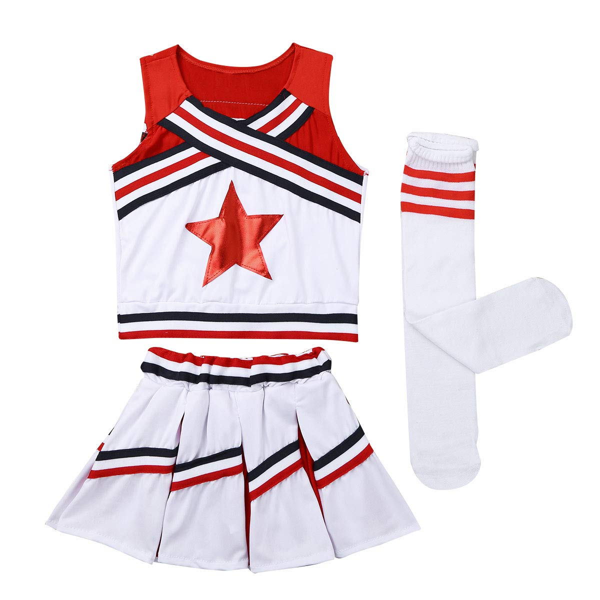 iEFiEL Youth Little Girls Cheer leader Cheerleading Outfit Uniform Costume Cosplay Top Vest with Pleated Skirt Socks