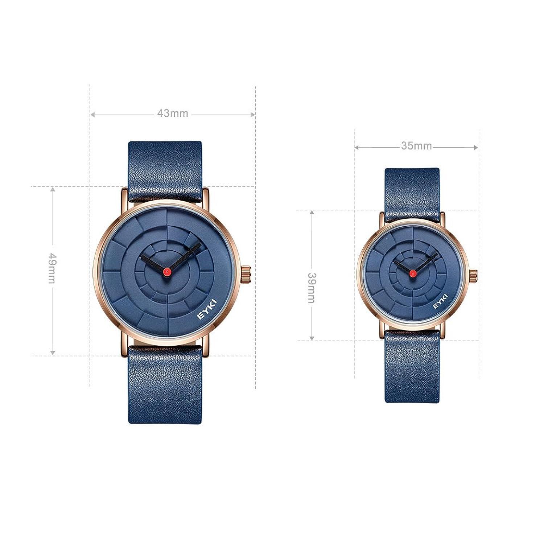 540d26cbb58a Amazon | EYKI 腕時計 メンズユニセックスファッションシンプルウォッチ防水アナログクォーツ本革バンドのドレス レディース メンズ ペア時計  1セット 夫婦 | メンズ ...