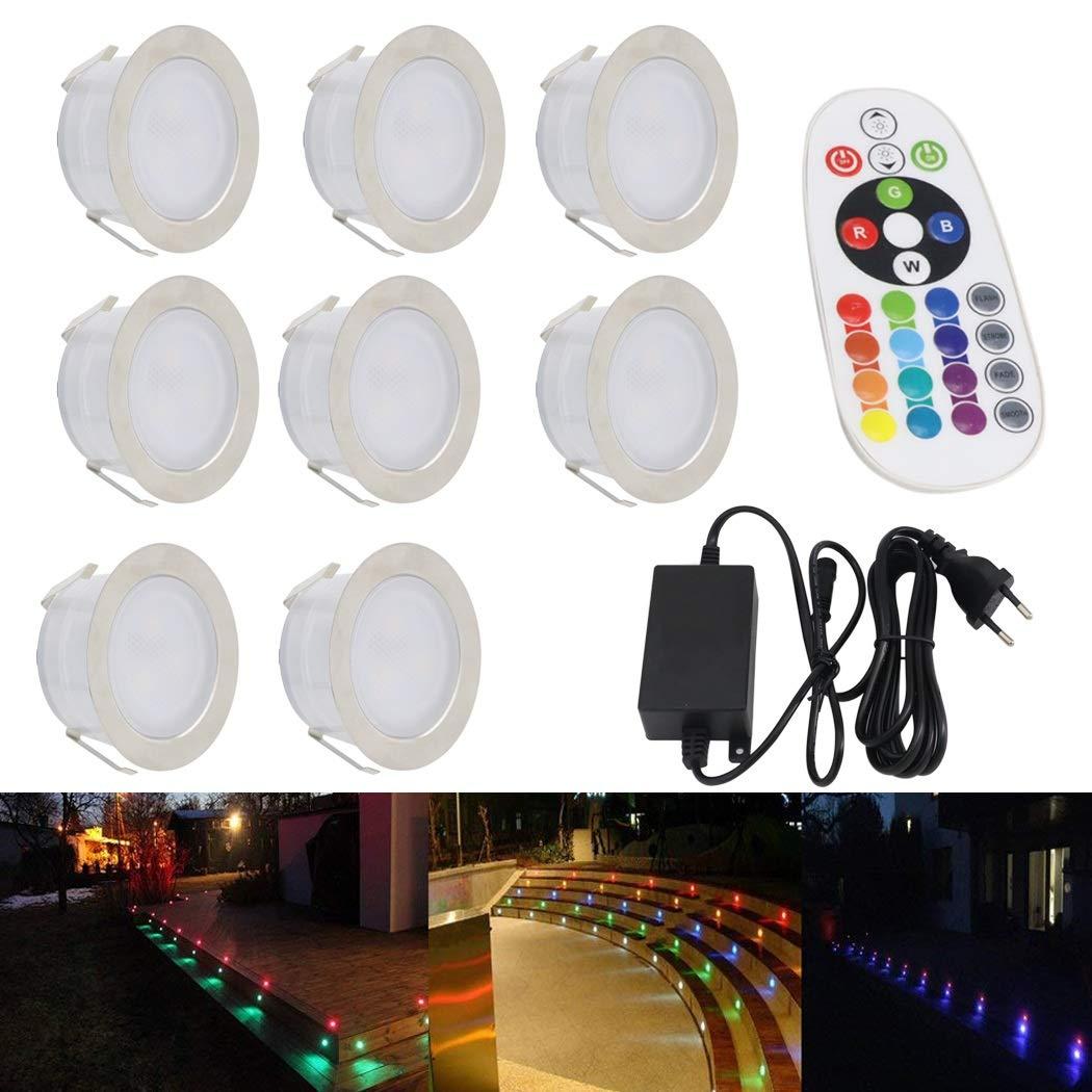 Garanzia di vestibilità al 100% IWGR Luci da esterno esterno esterno per esterni Facile da insDimensionere Patio da incasso luce sotterranea impermeabile IP67 RGB Multi-Colore che cambia telecomando (confezione da 8)  negozio online