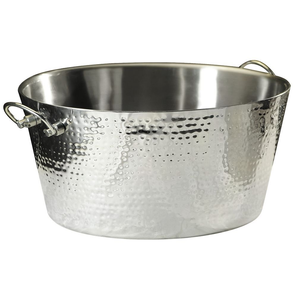 Expressly HUBERT Round Hammered Stainless Steel Double Wall Beverage Tub - 18 3/4''Dia x 9''H