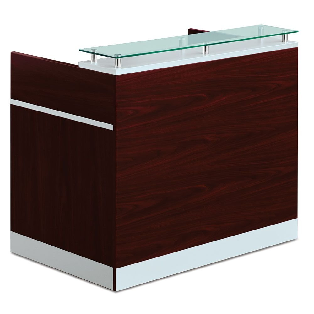 Glass Top Reception Desk - 48''W x 30''D Mahogany Laminate Base/Silver Gray Desk & Counter Top/Glass Top/Silver Accents Dimensions: 48''W x 30''D x 42''H Weight: 183 lbs.