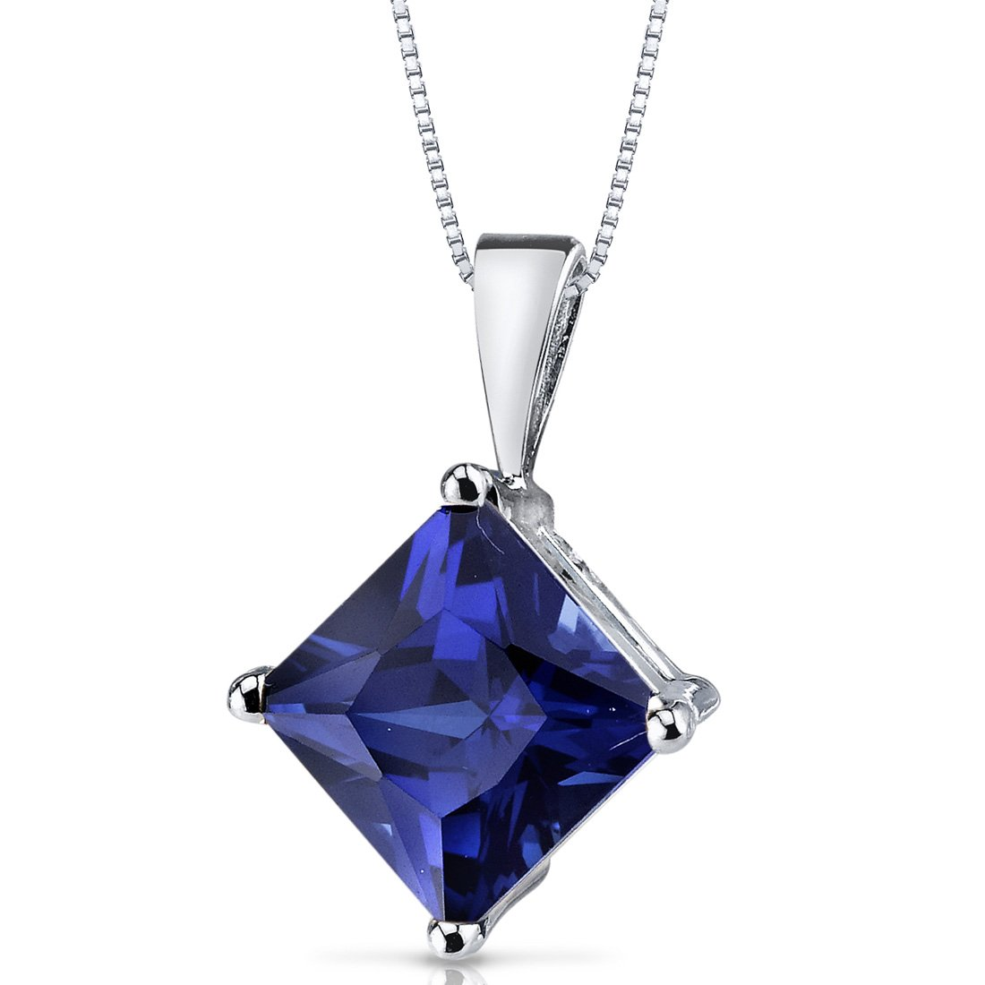 14 Karat White Gold Princess Cut 3.50 Carats Created Blue Sapphire Pendant by Peora