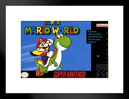 Super Mario World Super Nintendo NES Game Series Box Art Yoshi Luigi Princess Peach Matted Framed Poster 20×26 inch