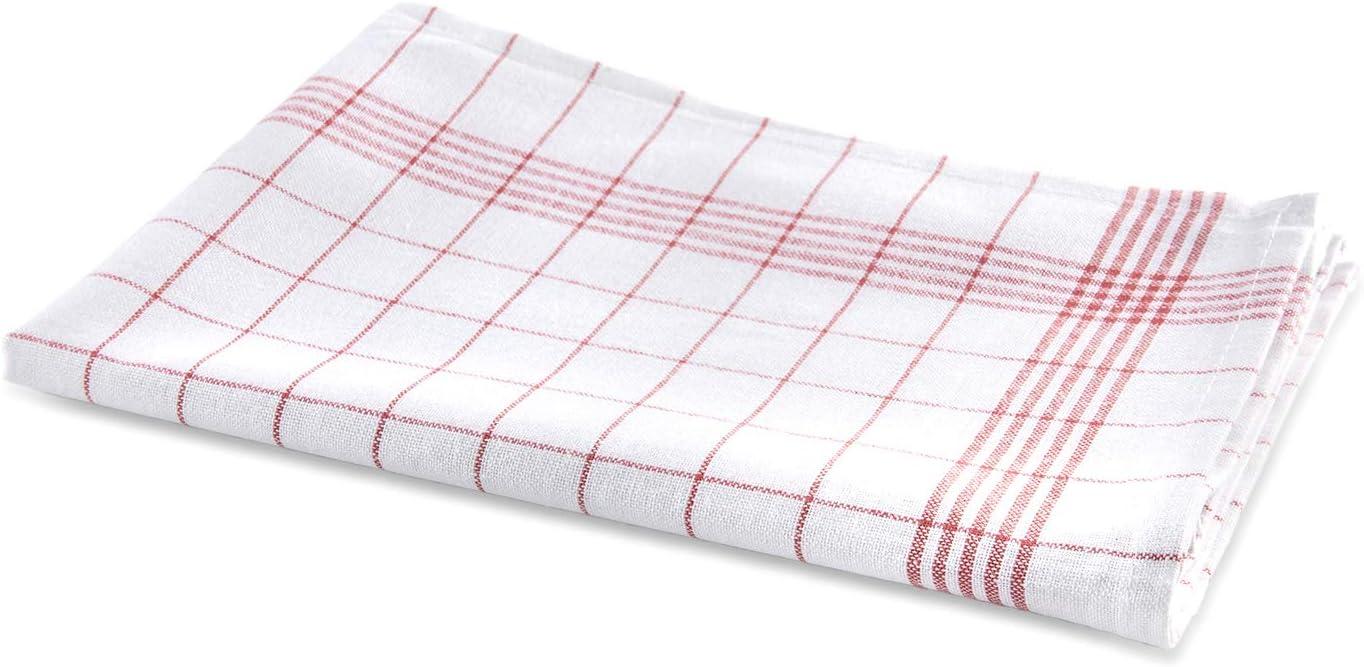 Colore: Rosso//Bianco Rot Set di 10 Strofinacci a Quadretti 50 x 70 cm Bertsch Hotelw/äsche GmbH