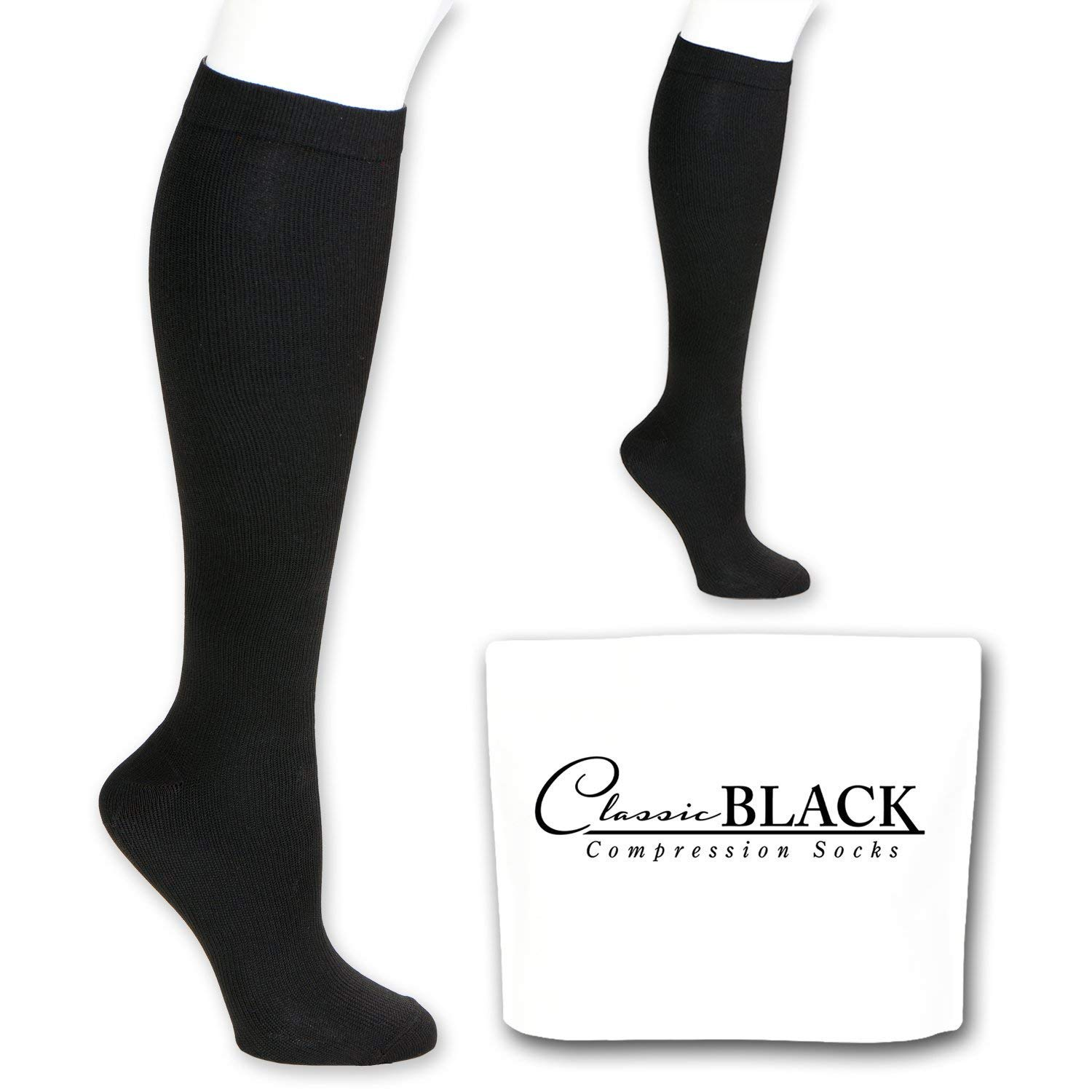 eb1baacfcd Classic Black Knee High Graduated Compression Socks 20-30 mmHg Firm  Pressure Support for Women