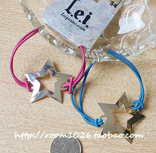 Original single in Europe and America Fan Silver Star Wishing Bracelet - Pink & Blue