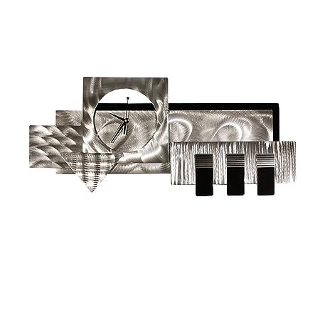 Statements2000 Silver Black Abstract Clock Sculpture – Geometric 3D Functional Art – Metallic Timepiece – Hanging Timekeeper – Steam City By Jon Allen – 38-inch