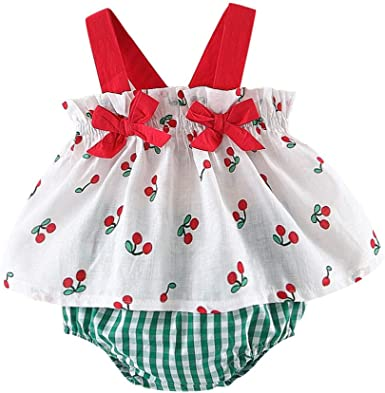 Toddler Kid Baby Girl Sunsuit Clothes Bow Strap Top Fruit Print Pant Outfits Set