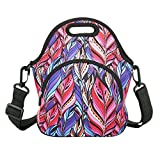 Neoprene Lunch Bag with Zipper Pocket & Strap Thermal Insulated Lunch Box Tote Waterproof for Women Men Teens Boys Teenage Girls, Red Leaf