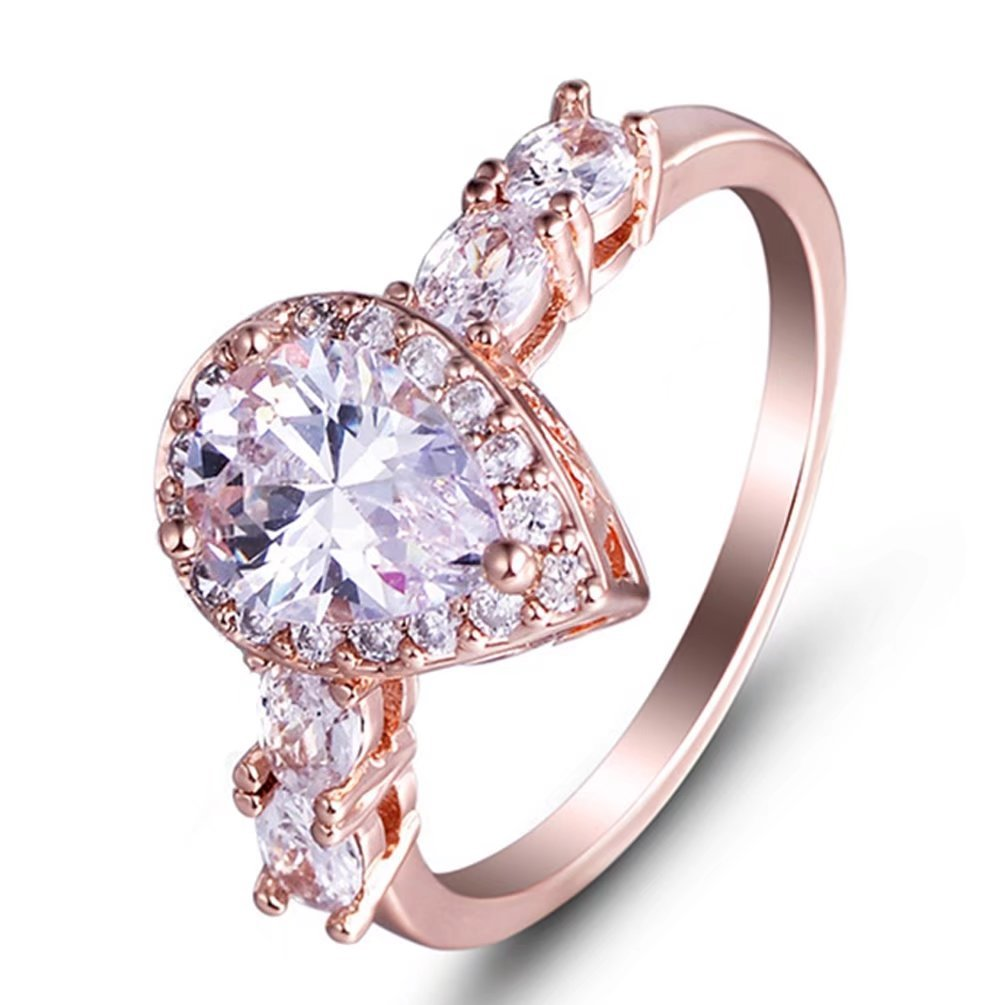 Women's Sparkle 18K Rose Gold Plated Teardrop CZ Solitaire Engagement Rings Halo Pear Cut 4 Carat Cubic Zirconia Eternity Wedding Ring Size 6