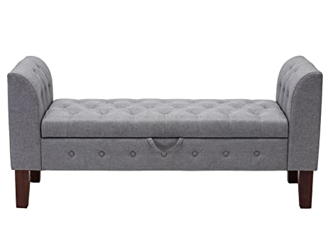 Modern Fabric Storage Bench With Arms Upholstered Tufted Footstool Ottoman  Bench For Living Room Bedroom Grey