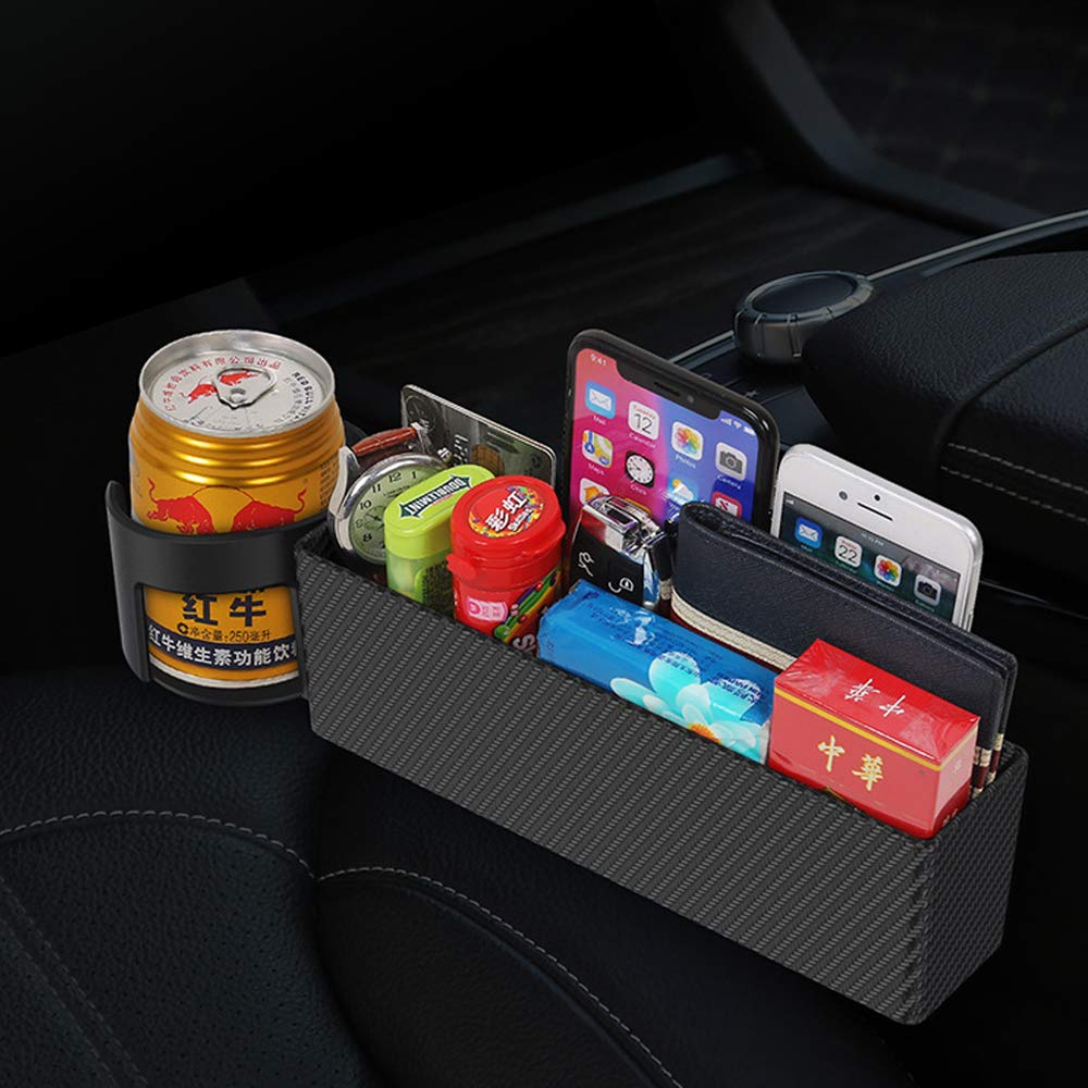 Black Universal Console Side Pocket Seat Catcher Storage Box Cage for Cell Phone Drinks Key Wallet Phone Coins Sunglasses Car Cup Holder Organizer Seat Gap Filler with Leather Cover