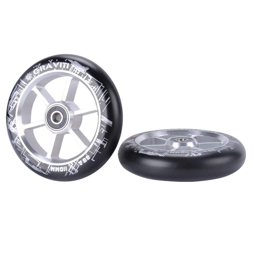GRAVITI One Pair 110mm Pro Stunt Scooter Wheels ABEC-9 Bearings CNC Metal Core (2pcs) (silver)