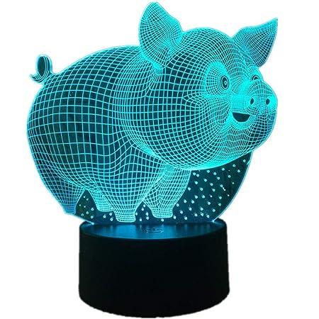 DHYWGS Pig Cute 3D Lámpara LED Lámpara de Mesa LED Sensor USB ...