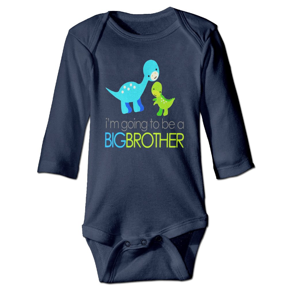 Dinosaur I'm Going To Be A Big Brother Long Sleeve Baby Onesie Clothes