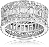 Charles Winston, Sterling Silver, Cubic Zirconia Baguette & Round Band, 5.60 ct. tw., Size 8