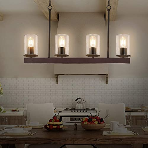 Farmhouse Linear Chandelier,4-Light Rustic Wood Candle Pendant Light