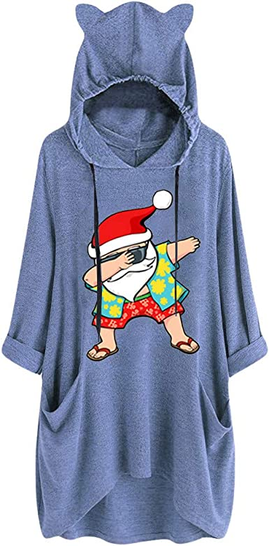 AMhomely Women Dresses Sale Ladies Casual Christmas Print Cat Ear Hooded Long Sleeve Pocket Dress Plus Size Dress Party Elegant Dress Vintage Dress UK Size