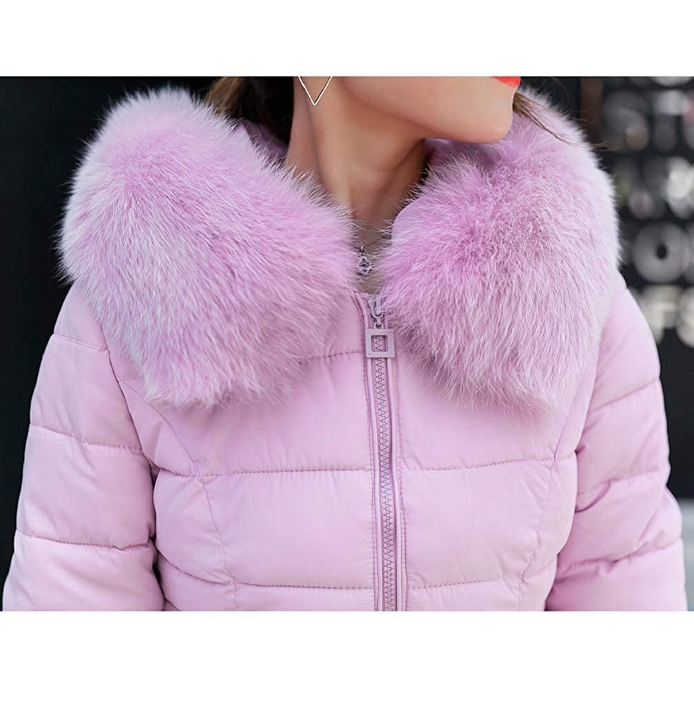 TUDUZ New Womens Quilted Winter Down Coat Ladies Slim Cotton Overcoat Puffer Fur Collar Hooded Parka Pink Black Blue Gray