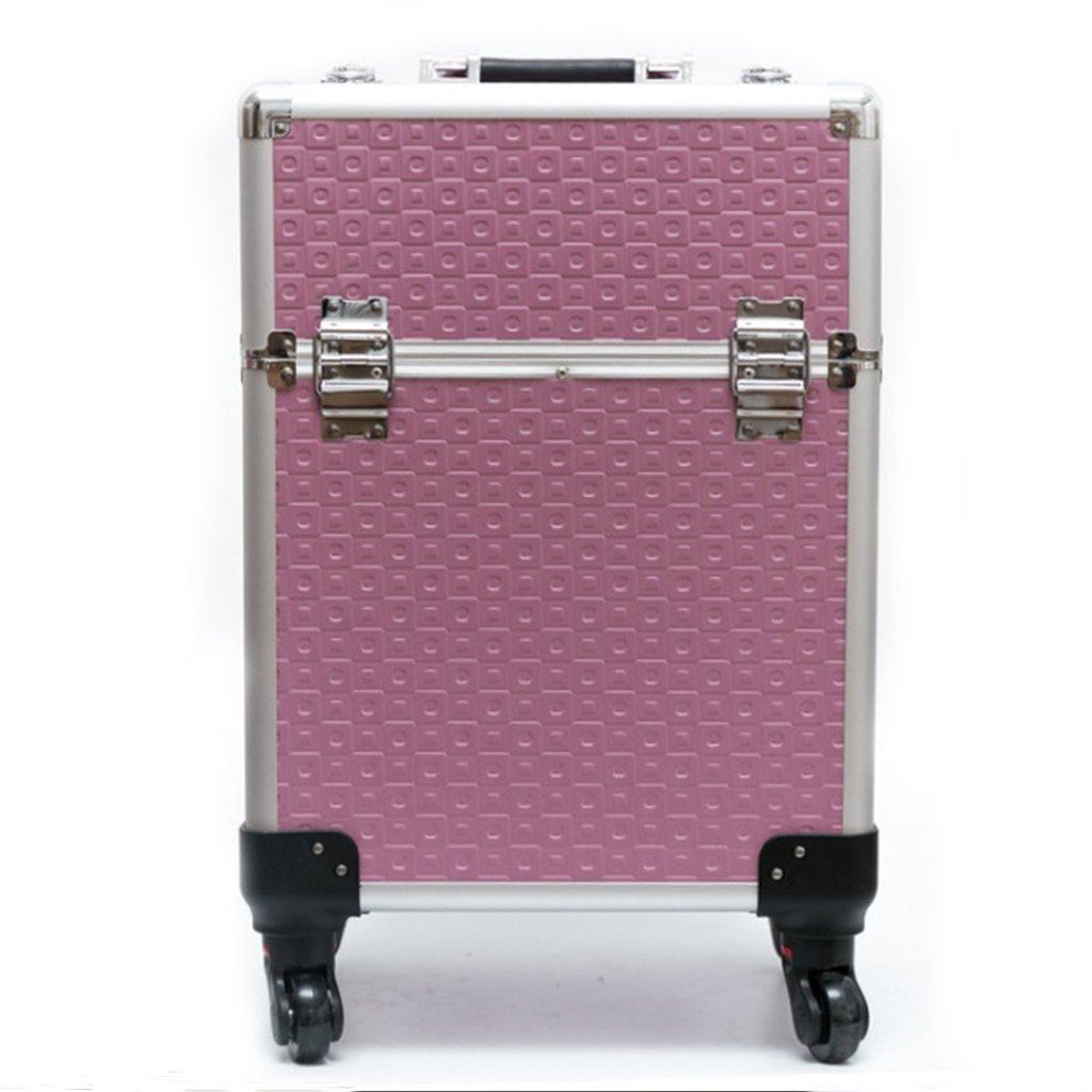 ポータブルエクストラ大容量トロリー化粧ケースジュエリーネイルメイクアーティストエッセンシャル日常用/旅行用ストレージケース B07FVVTHD3 latticepink