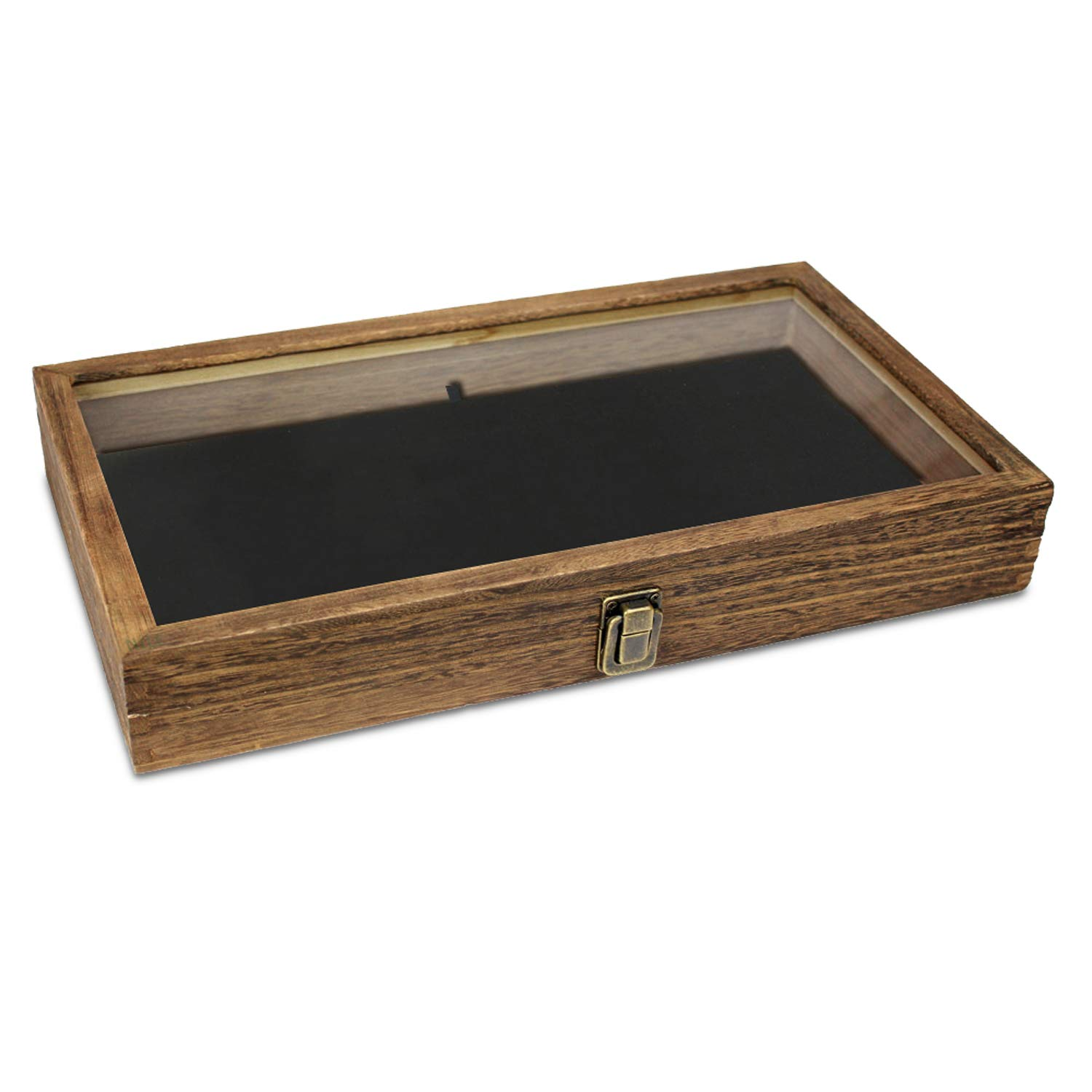 Mooca Wooden Jewelry Display case with Tempered Glass Top Lid, Brown Color