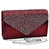 Jubileens Ladies Large Evening Satin Bridal Diamante Ladies Clutch Bag Party Prom Envelope (Wine red)