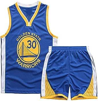 Angel ZYJ Maillots de Baloncesto para Niños- Conjunto Curry#30 Camiseta de Baloncesto Chaleco & Pantalones Cortos de Verano para Chicos y Chicas