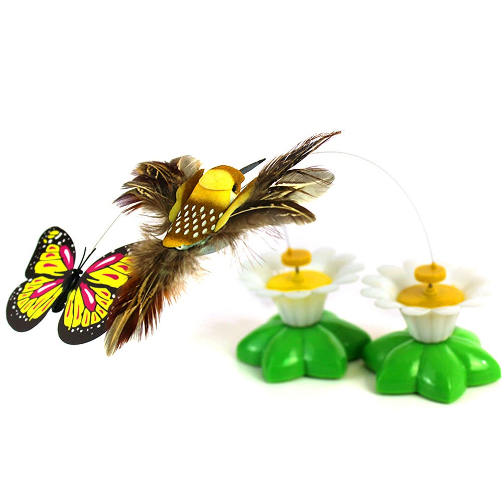 Funny Spinner interactivo gato juguete el/éctrico giratorio mariposa gato mascota juguete peque/ño p/ájaros girando wiggler gatito jugar juguete gato teaser juguetes paquete de 2 color al azar