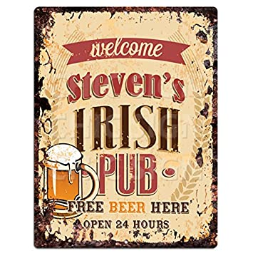 tin home decor.htm amazon com chic sign welcome steven s irish pub tin rustic  chic sign welcome steven s irish pub