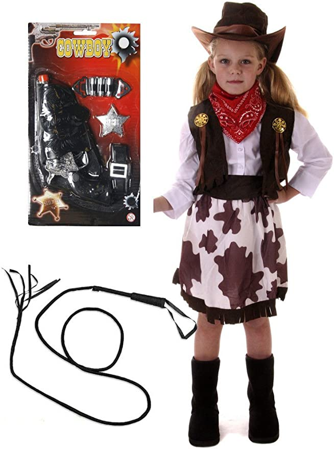 Cowboy Boys Kids Childrens Costume Outfit Fancy Dress with GUN /& WHIP Age 4-9