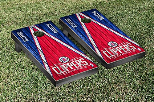 Los Angeles LA Clippers NBA Basketball Regulation Cornhole Game Set Triangle Weathered Version by Victory Tailgate