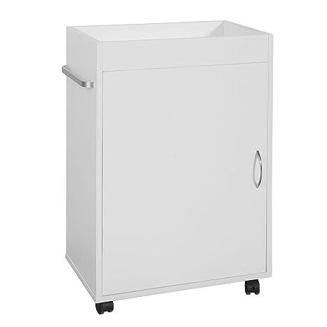 SoBuyMueble columna de baño, Armario para baño con ruedas,estanterías de baño-1