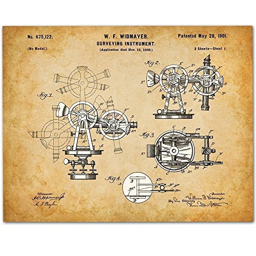 Surveying Instrument - 11x14 Unframed Patent Print - Great Gift for Surveyors, Contractors or - Surveying Instruments Antique
