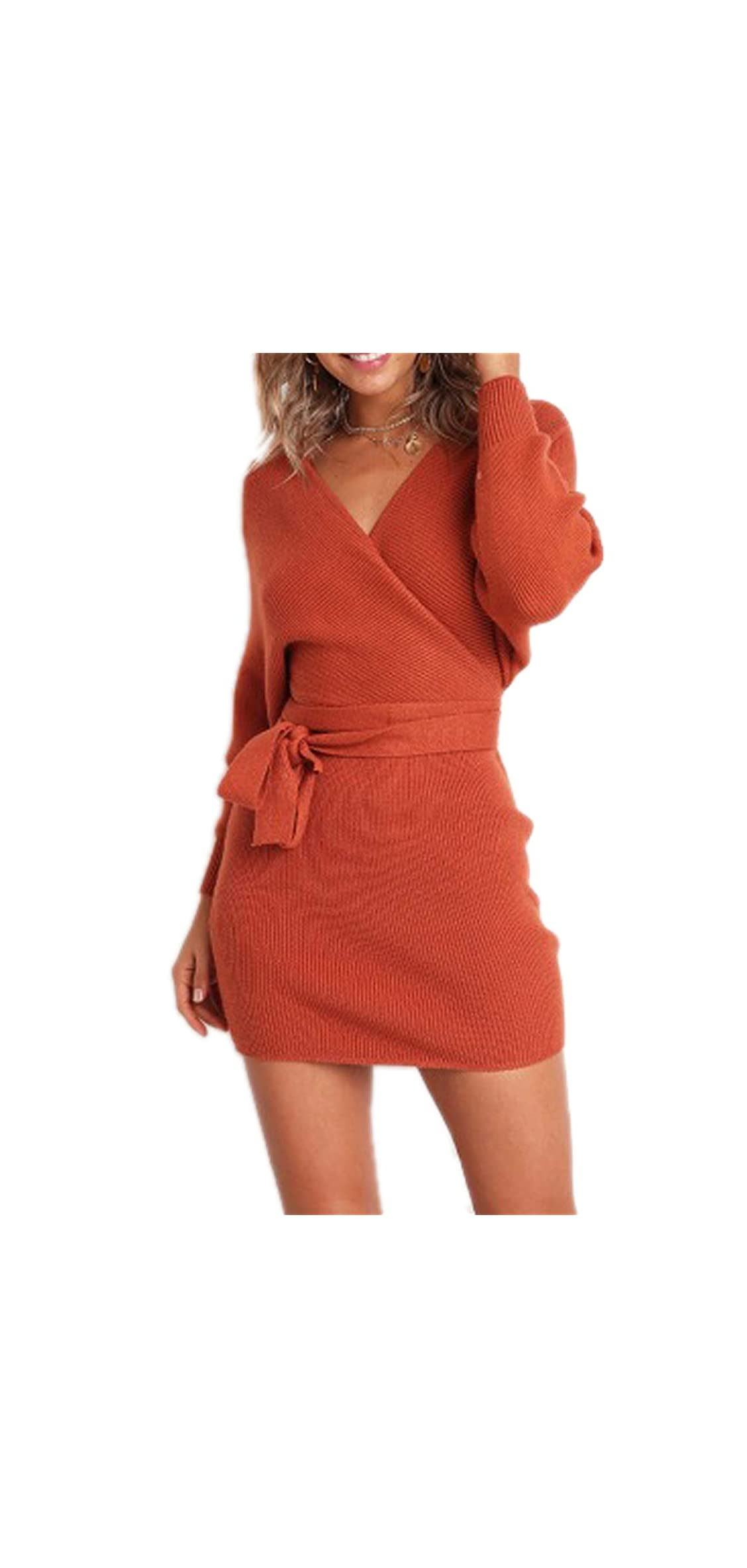 Women's Sexy Cocktail Batwing Long Sleeve Backless Mock