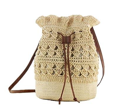Deyou Handgemachte Häkeln Umhängetaschen Stroh Rucksack Gewebt Bag