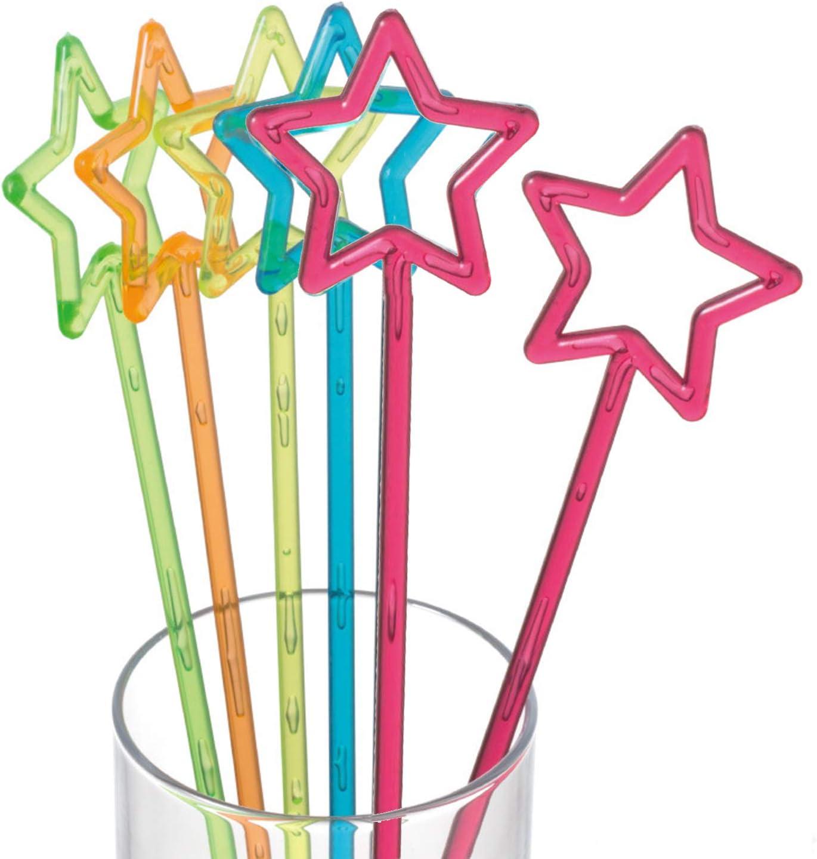 Multicolor DQZSY 30 Piezas de 9,8 Pulgadas Star Top Swizzle Sticks Agitadores de Bebidas de c/óctel Desechables Plastic Star Top Crystal Swizzle Sticks